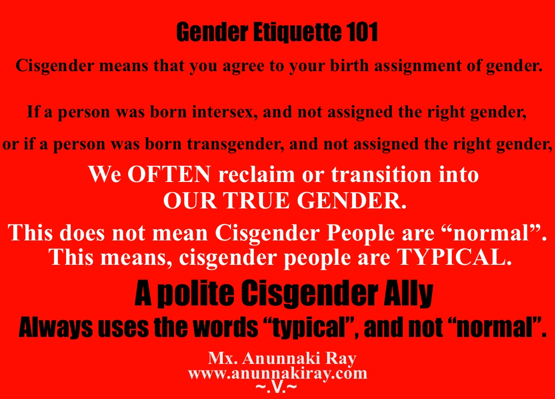 Gender Etiquette 101 Cisgender