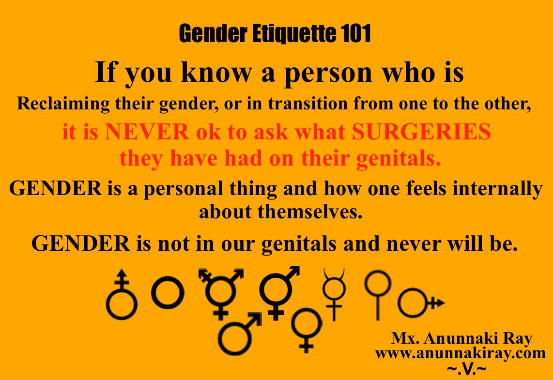 Gender Etiquette 101 Genital Surgery
