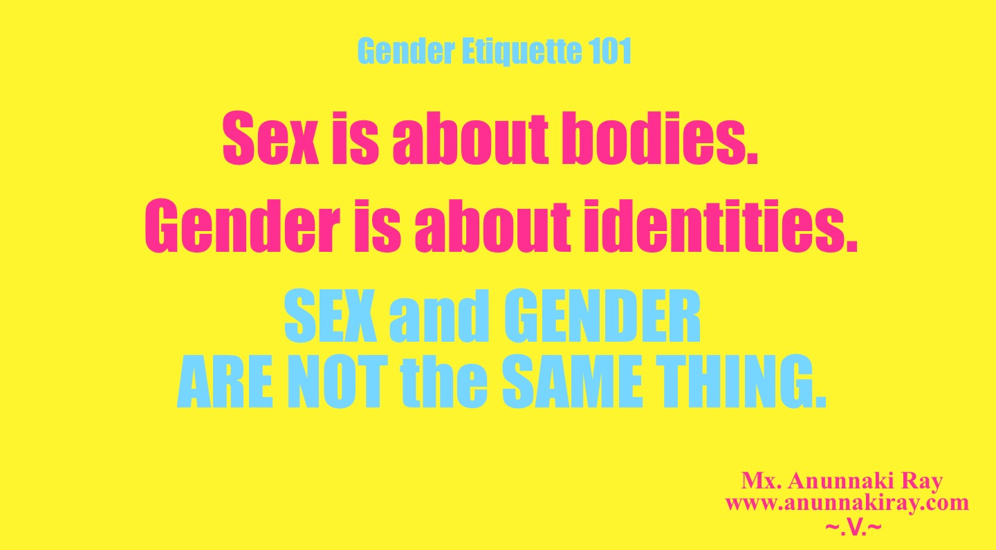 Sex is about bodies.  Gender is about identities  Gender Etiquette 101