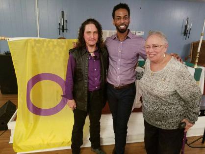 The founder of Jacksonville PFLAG, Frieda Saraga and President Gary Bevel.