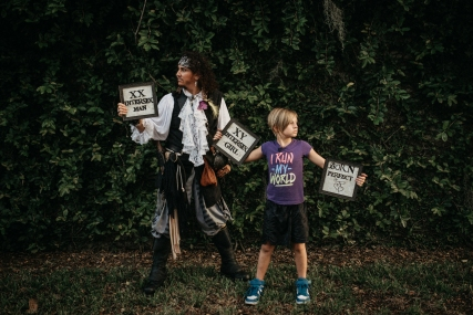 Pirate Antonio Phoenix meets Joey for Intersex Awareness Day 2017. Photography: Karmathartic, Seth Langner.