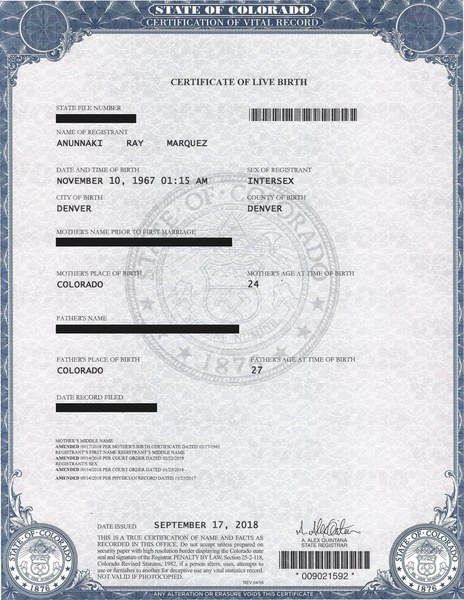 My official intersex birth certificate.