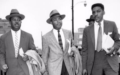MLK, center; Rustin, right.  GENE HERRICK/AP