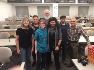 Documentary: Stories of Intersex and Faith: Lianne Simons, Megan Brukiewa, Mx. Anunnaki Ray, David Brukiewa, Megan DeFranza's Father. Back Row: Kimberly Mascott Zieselman of InterACT and John Simons.