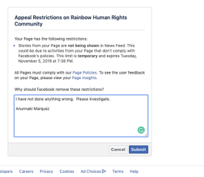 Screen shot of my message to Facebook
