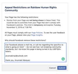 Screen shot of my message to facebook.