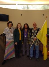 Morgan Henry, Reverend Alison Wilbur Eskildsen, Mx. Anunnaki Ray Marquez and his husband James Bunce