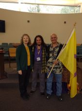 Reverend Alison Wilbur Eskildsen, Mx. Anunnaki Ray Marquez and his husband, James Bunce