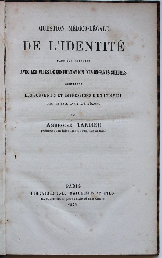 Title page of Ambroise Tardieu's 1872 book in which excerpts of Herculine Barbin's memoirs were first published. (Wikipedia)