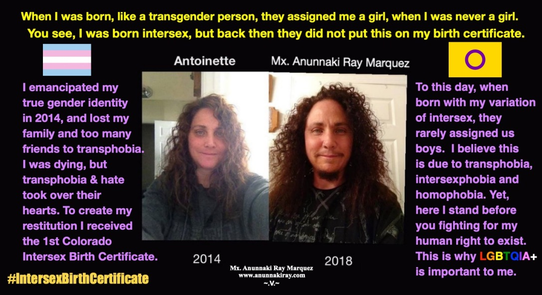Antoinette 2014 and Anunnaki 2018 | Intersex Birth Certificate