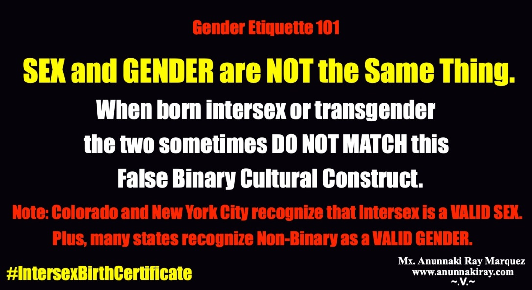 Gender Etiquette 101 Sex and Gender are Not the Same | Intersex Birth Certificate