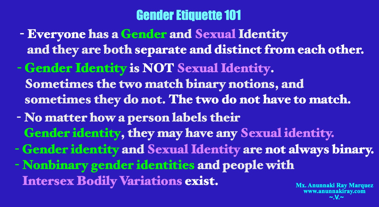 Gender Identity and Sexual Identity | Gender Etiquette 101