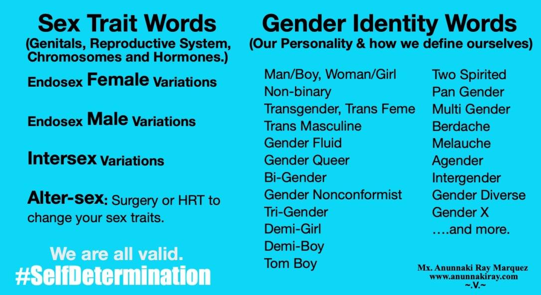 Sex Trait and Gender Identity Words   Mx. Anunnaki Ray Marquez